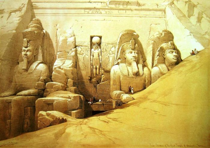 Grabado antiguo del templo de Ramsés II en Abu Simbel